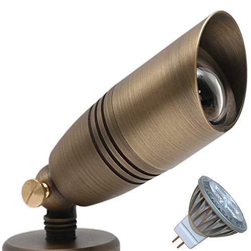 Arrownine Low Voltage Antique Brass Uplight Landscape Lighting Fixtures Outdoor Tree Lights Included Free 2700K Warm White MR16 LED Bulb