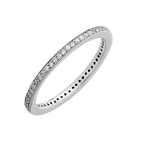 10k White Gold Diamond Pave Set Eternity Band Ring (0.24 Carat) (0.24 Ct Pave Diamond)