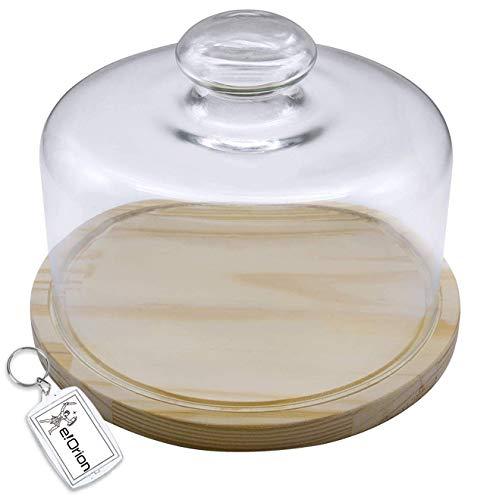 Quesera Redonda con Tapa de Cristal – Caja Queso Base de Madera – Ideal para Conservar Frescos Tus Quesos - Diámetro Ø 25cm