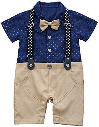HMD Baby Boy Gentleman White Shirt Bowtie Tuxedo Onesie Jumpsuit Overall Romper 0 18M Light product image
