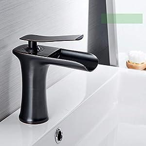 Grifos Lavabos Grifo Lavabo Cocina Cascada Mezclador Lavabo Cascada Cuarto De Baño Monomando Lavabo Bañera Antiguo Latón Fregadero Negro