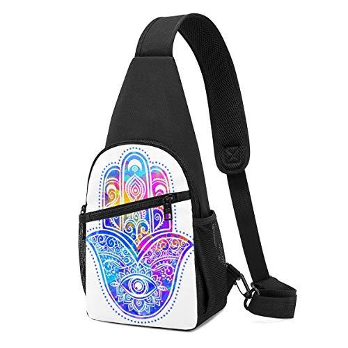 DEKIFNHG Ornament Card with Hamsa Sling Backpack Hiking Daypack Crossbody Shoulder Bag