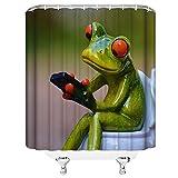 N/X Duschvorhang Spaß Porzellan Frosch auf Toilette Dekor Home Duschvorhang Lustige grüne Cartoon Tier Polyester Stoff Badzubehör Vorhänge
