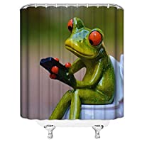 AFDSJJDK バスタオル 楽しい磁器カエル家の装飾シャワーカーテン面白い緑の動物漫画ポリエステル生地バスルームアクセサリーカーテン