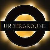 Elbeffekt Undergro& Lampe aus Holz - personalisierbares Geschenk für London Liebhaberinnen - London Deko - personalisierbar zum Hinstellen/Aufhängen - Undergro& Geschenk - persönliches Geschenk