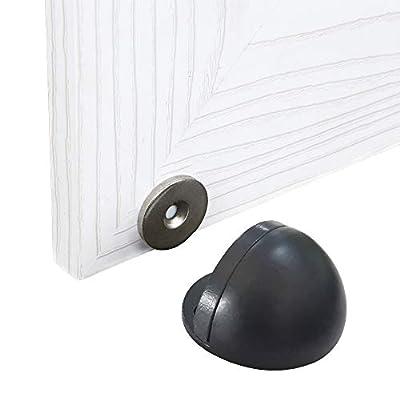 HONPHIER 2PCS Magnetic Door Holder Metal Door Catch Heavy Duty Self Adhesive Door Stop Magnet with Concealed Screw Mount, Brushed Finish (Black)