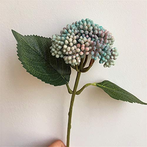 Flores artificiales decorativas de simulación de hortensias de una sola baya, hortensia, frijol rojo de acacia, arreglo de una sola flor, 38 cm, los productos incluyen: flores artificiales.