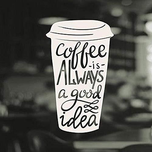 qwermz Wandaufkleber Kaffee Ist Eine Gute Idee Zitate Fenster Aufkleber Tasse Küche Fenster Kaffee Logo Shop Aufkleber Vinyl Aufkleber Kunst Pub Cafe Dekor 92 * 57cm
