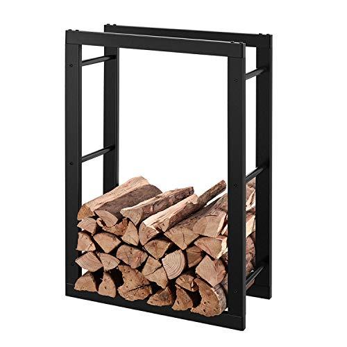 RANSENERS® Metall Kaminholzregal Feuerholzregal Brennholzregal Schwarz 60x27x100cm Stapelhilfe Aussen und Innen