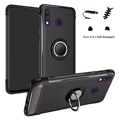 LFDZ Galaxy A40 2019 Custodia, Resistente TPU Case Design 360 Grado Rotazione Protective Custodia Cover per Samsung Galaxy A40 2019 (Not Fit Galaxy A10 / A20 / A30 / A50 / A70),Nero