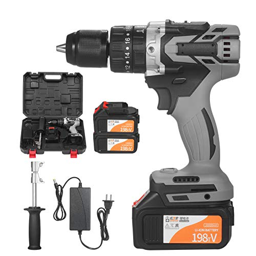 Topuality Cordless Drill Driver 2Pack 21V 4.0A Batteries Max Torque 200N.m 1/2 Inch Metal Keyless Chuck 20+3 Position 0-1550RMP Variable Speed Impact Hammer Drill Screwdriver With PlasticTool Box
