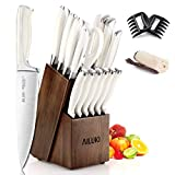Knife Set, AILUKI 19 - Piece Kitchen Knife Set with Block Wooden and Sharpener, Professional High Carbon German Stainless Steel Chef Knife Set, Ultra Sharp Full Tang Forged White Knives Set (White)