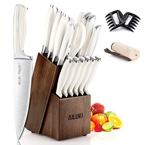Knife Set,18 Piece Kitchen Knife Set with Block Wooden and Sharpener, Professional High Carbon German Stainless Steel Chef Knife Set, Ultra Sharp Full Tang Forged White Knives Set