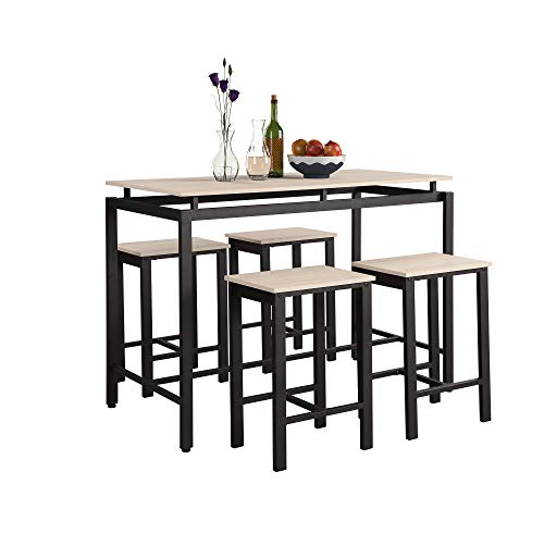 Merax Dining Set, Table and Chairs for 4, Made from Wood and Metal Frame, Perfect for Kitchen, Dinning Room and Bar(5 Pieces), Espresso