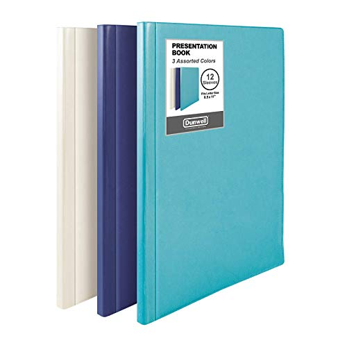 """Dunwell Binder with Plastic Sleeves - (Assorted 3 Pack, 1 Blue 1 Ivory 1 Aqua), 12-Pocket Bound Presentation Book with Clear Sleeves, Displays 24 Pages of 8.5x11"""" Paper, Art Portfolio, Certificates"""