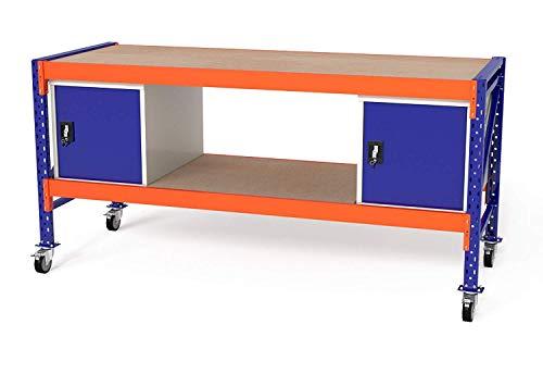 TOPREGAL, werkbank, werktafel, verrijdbaar, werkbank met wieltjes, werkbanken, 500 kg veldlast, B230 x H89-129xT80 cm, met multiplexplaat, verschillende modulecombinaties 2x WST / 2x Holzboden Blau (Ral 5005) / Orange (Ral 2004)