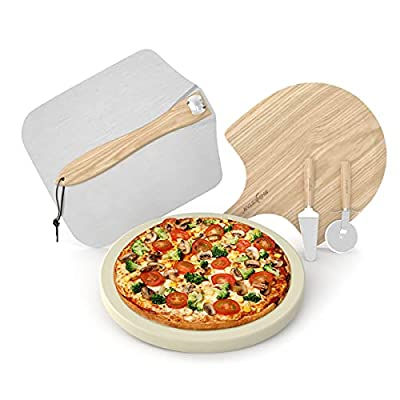 SHINESTAR 5 Piece Pizza Stone and Pizza Peel Set, Include 12inch Baking Stone, Folding Aluminum Pizza Peel,Wood Pizza Paddle,Cutter Wheel and Server, Pizza Grilling Set for Oven, Grill and BBQ