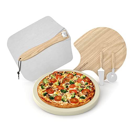 """SHINESTAR Complete Pizza Stone and Peel Set, 12"""" Baking Stone, Wood & Metal Pizza Peel, Cutter and Server included, Pizza Making Kit for Grill, Oven, 5 Pieces"""