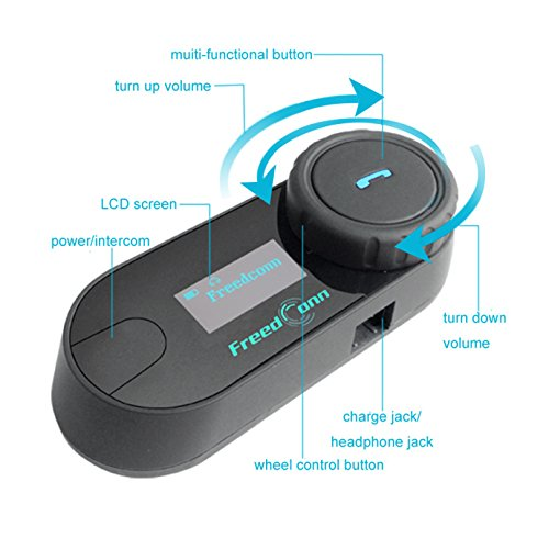 FreedConn Motorrad Intercom TCOM-SC Helm Bluetooth Headset-Gegensprechanlage für Motorrad-Skifahren LCD-Bildschirm / FM Radio / Freisprechen / Reichweite-800M / 2-3Riders Pairing / Schwarz - 4