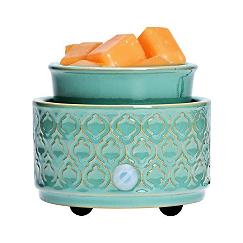 ASAWASA Ceramic Electric Wax Melt Warmer, Candle Waxing Warmer, Use Wax Melts Cubes Essential Oils and Fragrance Oils, Gifts for Aromatherapy Spa Home Office 4.02' x 4.02' x 3.39' (Cyan Arc Pattern)