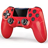 YCCTEAM Controller Compatible with PS-4, Wireless Controller with Built-in 1000mAh Rechargeable Battery, Gyro and Speaker Compatible with PS-4/Slim/Pro Console Updated Version (Red)