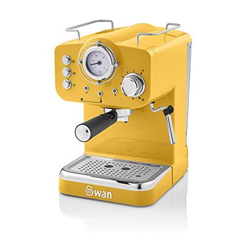 Swan Retro Pump Espresso Coffee Machine, Yellow, 15 Bars of Pressure, Milk...