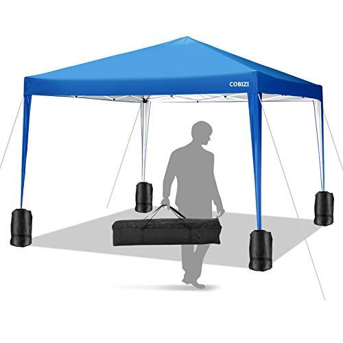 COBIZI Pavillon 3 x 3 WASSERDICHT, Pavillon inkl. Tasche wasserabweisend höhenverstellbar faltbar Pop-up Gartenzelt Partyzelt (Blau)