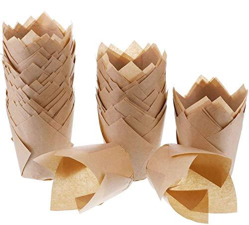 200 Stück Tulpenförmchen für Cupcakes, natürliches Backpapier, fettdicht, für Hochzeit, Geburtstag, Party, Babyparty (Natur)