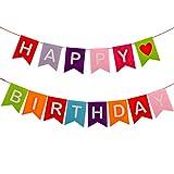 BESTOYARD Happy Birthday Banner Wiederverwendbare Stoff bunten Regenbogen Buchstaben niedlichen Partydekorationen für Kindergeburtstagsfeier