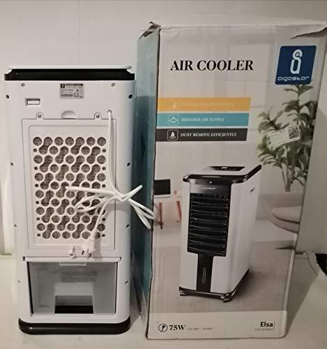 Aigostar Elsa 33QNU - Raffrescatore nebulizzatore, purificatore, umidifitore con timer 12h. Portata Aria: 900m³ h. Fornito con due borse di giacchio ad alta densità. Impugnatura e ruote universali.