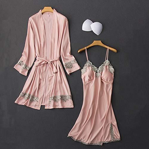 Dames Pyjama,4 Stks Sets Pyjama Zijden Gewaad Jurk En Cami Shorts PyjamaSexy Lingerie Kant Getrimd Pijama Nachtkleding Homewear Loungewear