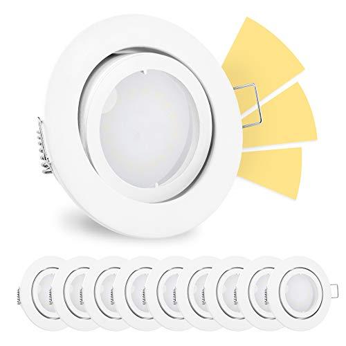 10 Stück linovum® fourSTEP Einbauspots LED schwenkbar dimmbar ohne Dimmer - LED GU10 5W warmweiß - Einbaustrahler weiß rund