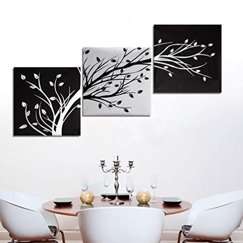 MINRAN DECOR 3 Pintura Conjunta - Lienzo ArtíStico Sin Marco, DiseñO Abstracto, Ramas abstractas en Blanco y Negro, Cuadro Mural para DecoracióN del Hogar, 50x50cmx3