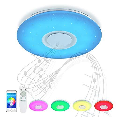 JDONG Bluetooth Deckenleuchte mit Fernbedienung APP-Steuerung und Lautsprecher 24W, ⌀40 CM, Sternenhimmel, Farbwechsel-Option, Nachtlichtfunktion, dimmbar