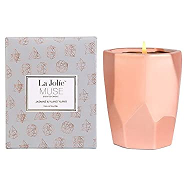 LA JOLIE MUSE Ylang Ylang Aromatherapy Scented Candle Gift,10Oz 100% Soy Wax 65 Hours Burn, Gifts