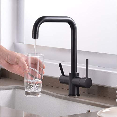 YAWEDA messing keukenkraan filter mixer kraan dek gemonteerd 360 rotatie keukengootsteen waterkraan met waterzuivering eigenschappen dubbele greep kraan 3-weg zwart