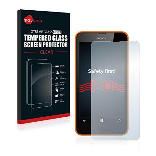 Savvies Panzerglas kompatibel mit Nokia Lumia 630 Dual SIM - Echt-Glas, 9H Festigkeit, Anti-Fingerprint