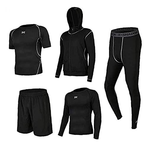 BRAVOSOLEIL Männer Gym Kleidung Fitness Compression T-Shirt Mit Leggings Shorts Hoodies Laufe Kit Anzugs Für Sport-schwarz-XL 5pcs