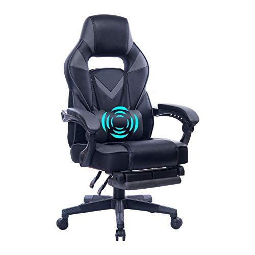 Wolmic Racing Stil Gaming-Stuhl mit Fußstütze E-Sports Höhe Rücken Ergonomischer Computer Schreibtisch Leder Bürostuhl mit Verstellbarer und gepolsterter Kopfstütze (9015Grau)
