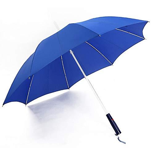 ProProCo LED Regenschirm - Leuchtender Automatik Regenschirm - Hochwertiger Winddichte und Sturmfester Stockschirm mit Taschenlampe - Wasserdichter Prongee Regenschirm Damen und Herren (Blau)