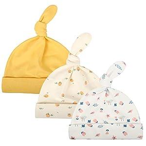 Ami&Li tots Newborn Baby Infant Beanie Hats 100% Cotton Baby Boy Girl Gifts 3 Pack Knot Cap