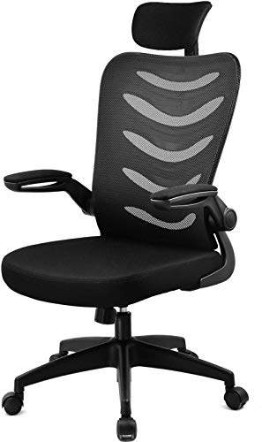ComHoma デスクチェア メッシュ ヘッドレスト 椅子 パソコンチェア ハイバック pcチェア 跳ね上げ式アームレスト 通気性抜群 ブラック 一年無償部品交換保証 CH107-BLACK