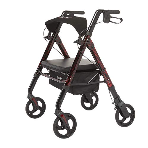 Lifestyle Mobility Aids Regal Bariatric 4 Wheel Rollator with Universal Height Adjustment (Laser Red)