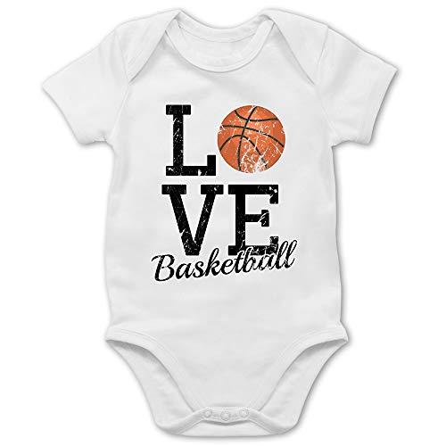 Sport Baby - Love Basketball - 6/12 Monate - Weiß - Strampler Basketball - BZ10 - Baby Body Kurzarm für Jungen und Mädchen
