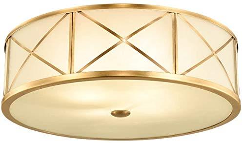 YANQING Duurzame Plafondlampen Retro Plafondlamp Koper Hoge Licht Glas Lampenkap Ronde Entree Aisle Balkon Slaapkamer Goud Plafondlampen (Maat: S-35 * 13cm-E27*3),Kleur:S-35 * 13cm-e27*3