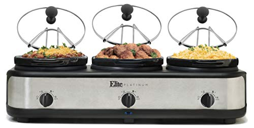 Elite Platinum EWMST-325 Triple Slow Cooker Buffet Server, Adjustable Temp Dishwasher-Safe Oval Ceramic Pots, Lid Rests, 3 x 2.5Qt Capacity, Stainless Steel