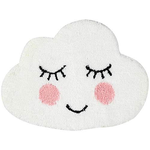 HYST Playtime Cozy Cute Cloud Shaped Bedroom Bathroom Doorway Kitchen Floor Rug Carpet Water Absorption Non-Slip mat for Kid's Room (White, 63x47cm)
