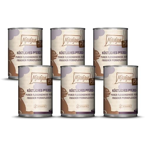 MjAMjAM - Premium Nassfutter für Katzen - purer Fleischgenuss - Pferdefleisch, 6 x 400 g, getreidefrei