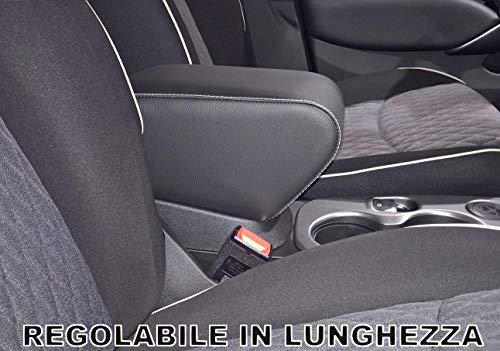 Drive Design Bracciolo per 500X Ecopelle Nero con Cuciture Bianche Regolabile in Lunghezza Armrest bracciolo 500 X