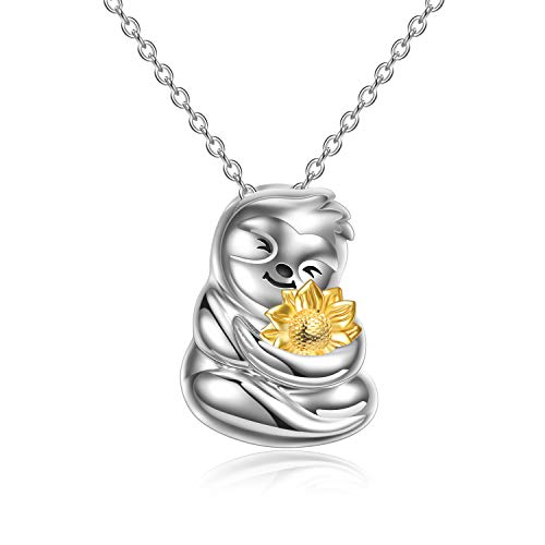 VENACOLY Sloth Gifts Sterling Silver Sloth Necklace with Sunflower Pendant Cute Animal Jewellery Christmas Birthday Gifts for Women Daughter